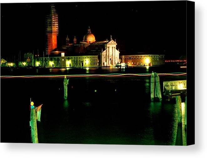 Venice Canvas Print featuring the photograph San Georgio Maggiore In Venice At Night by Michael Henderson