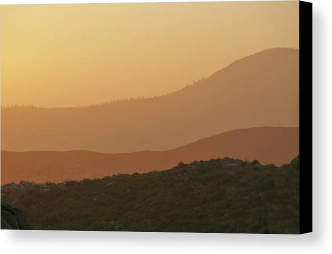 Sandstorm Canvas Print featuring the photograph Sandstorm During Sunset On Old Highway Route 80 by Christine Till