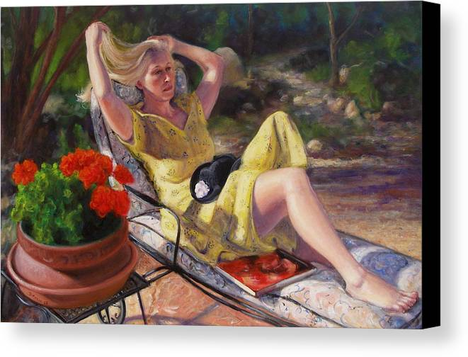 Realism Canvas Print featuring the painting Santa Fe Garden 4 by Donelli DiMaria