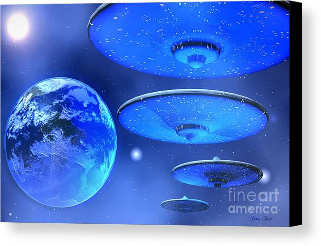 Space Art Canvas Print featuring the painting Saucers by Corey Ford