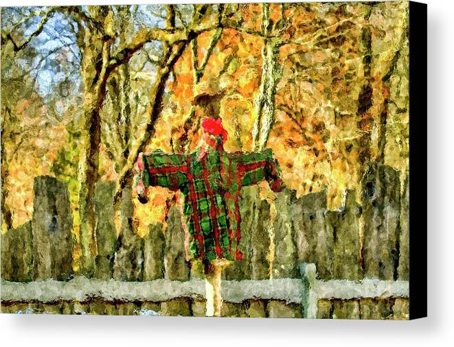 Recent Canvas Print featuring the photograph scarecrow in field at Stanhope Waterloo Village by Geraldine Scull