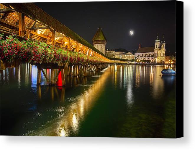 Bridge Canvas Print featuring the photograph Scenic Night View Of The Chapel Bridge In Old Town Lucerne by George Oze