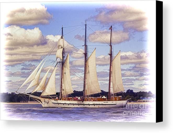 Atlantic Canvas Print featuring the photograph Schooner Mystic Under Sail by Joe Geraci