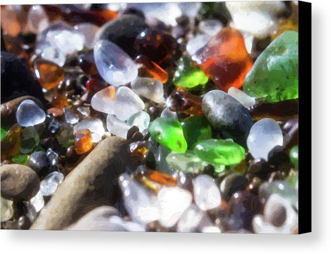 Abstract Canvas Print featuring the photograph Seaglass Background by Charles Wollertz