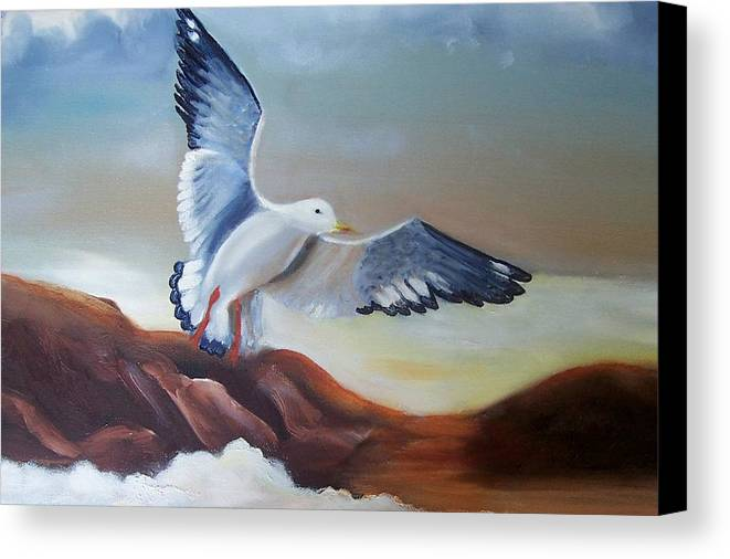 Birds Canvas Print featuring the painting Seagull Landing by Martha Mullins