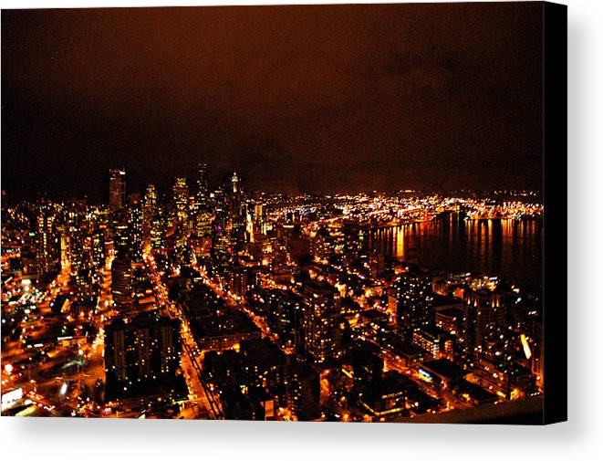 Seattle At Night Canvas Print featuring the photograph Seattle by Davida Parker