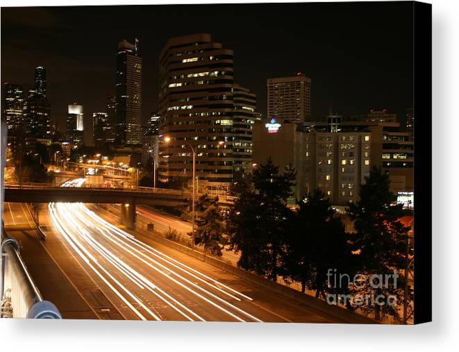 Night Canvas Print featuring the photograph Seattle Night Time by Robert Torkomian