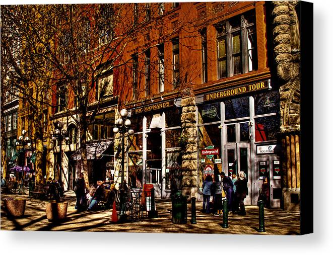 Seattle Taverns Canvas Print featuring the photograph Seattle's Underground Tour by David Patterson