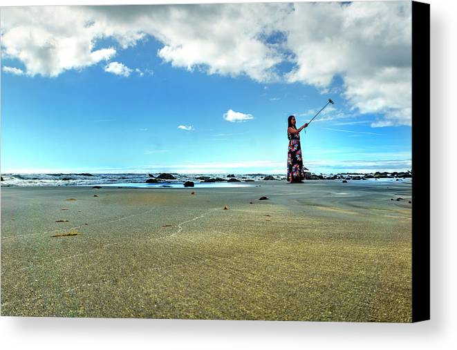 Landscape Beach Ocean Sea Sand Clouds Blue Sky Canvas Print featuring the photograph Selfy On The Beach by Ron Christie