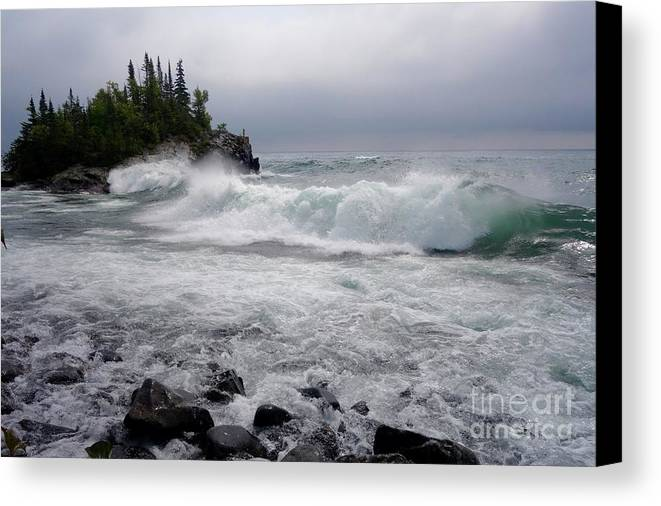 Lake Superior Canvas Print featuring the photograph September Storm #2 by Sandra Updyke