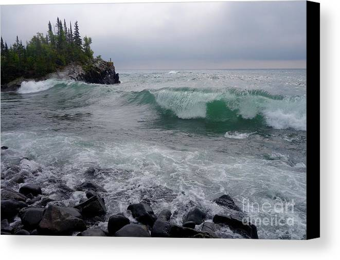 Lake Superior Canvas Print featuring the photograph September Storm #4 by Sandra Updyke