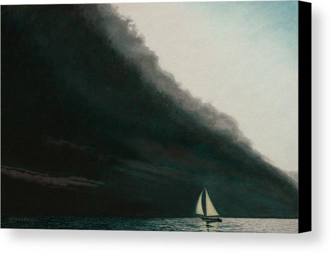 Sailing Canvas Print featuring the painting Shadow Work by Allan OMarra
