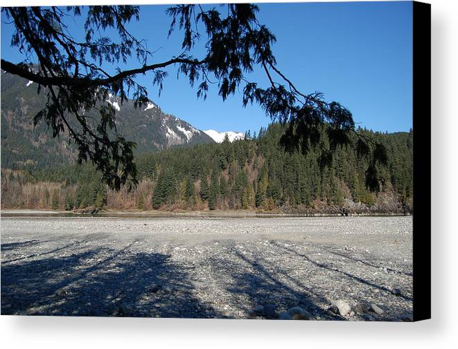 River Canvas Print featuring the photograph Shadows On The Coquihalla River by J D Banks