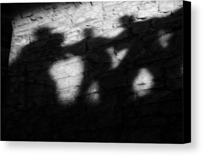 Wall Canvas Print featuring the photograph Shadows On The Wall Of Edinburgh Castle by Christine Till