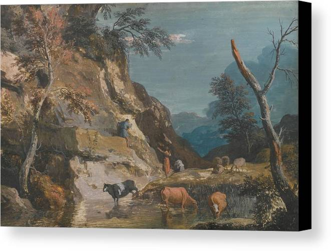 Marco Ricci An Upland Landscape With Cattle At A Pool Canvas Print featuring the painting Sheep And Three Peasants Below A Cliff by Marco Ricci