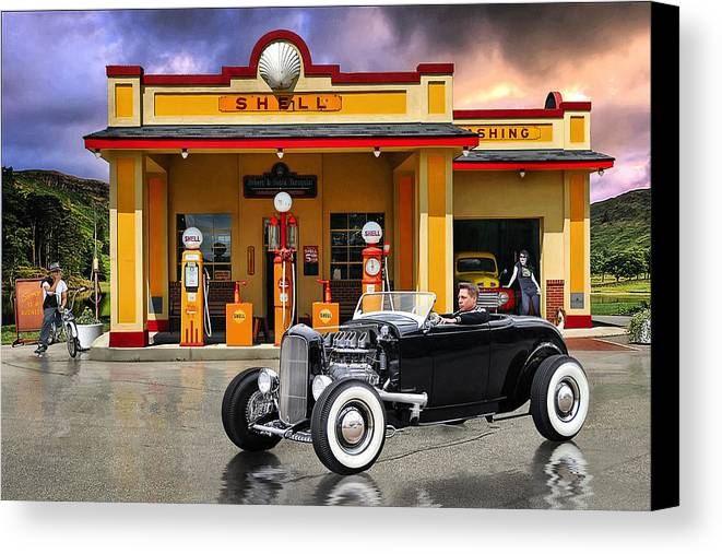Hot Rod Canvas Print featuring the digital art Shell Station .... by Rat Rod Studios