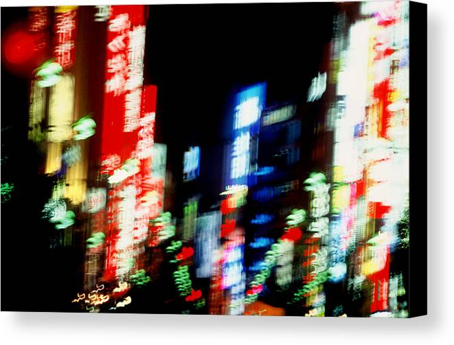 Neon Canvas Print featuring the photograph Shinjuku Abstraction by Brad Rickerby