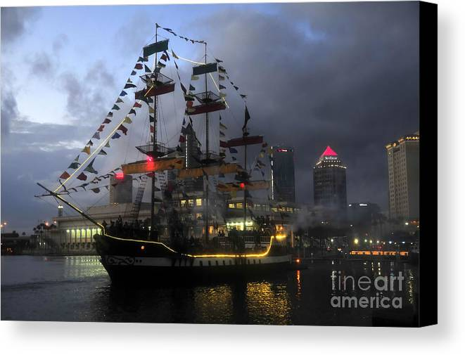 Tampa Bay Florida Canvas Print featuring the photograph Ship In The Bay by David Lee Thompson