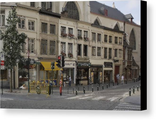 Building Canvas Print featuring the photograph Shopping Morning by Cecil Fuselier
