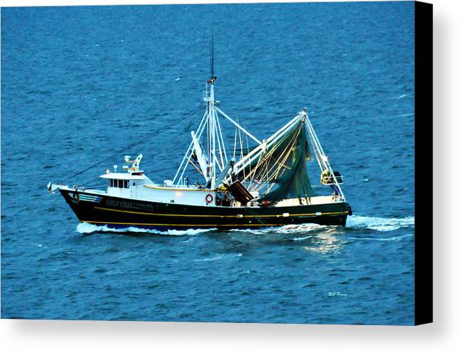 Waterfowl Canvas Print featuring the photograph Shrimp Boat In The Gulf by Bill Perry
