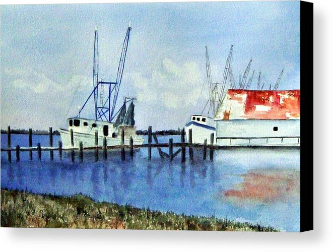 Shrimpboat Canvas Print featuring the painting Shrimpboats At Dock by Carol Sprovtsoff
