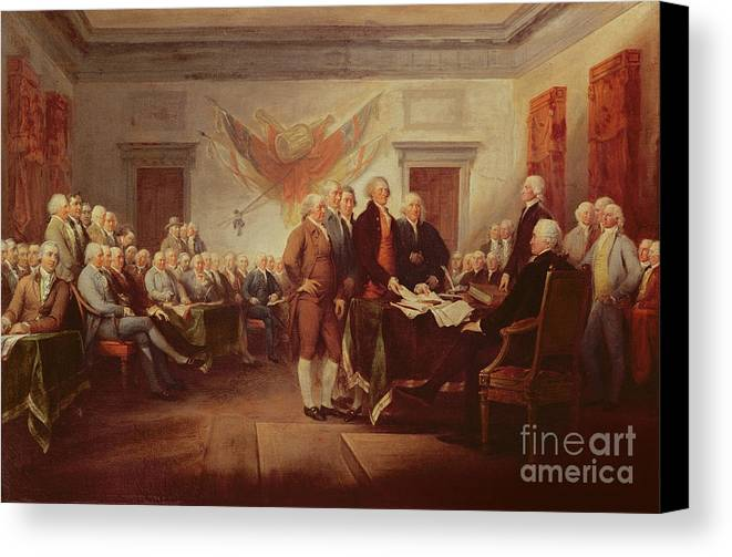 Signing Canvas Print featuring the painting Signing The Declaration Of Independence by John Trumbull