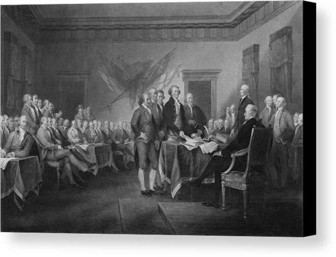 Declaration Of Independence Canvas Print featuring the mixed media Signing The Declaration Of Independence by War Is Hell Store
