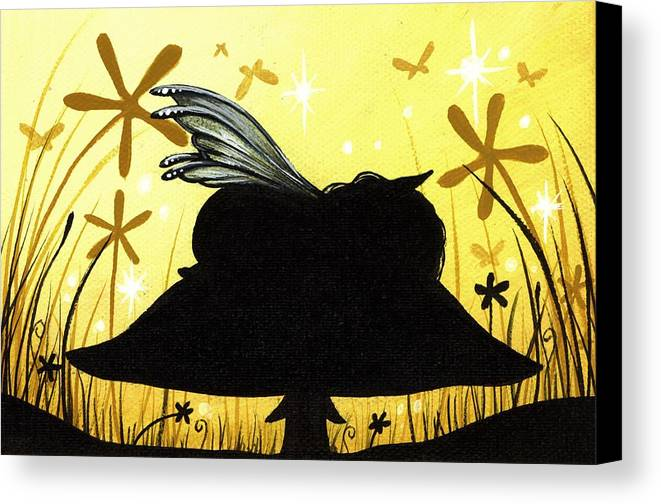 Fantasy Fairy Canvas Print featuring the painting Silent Slumber by Elaina Wagner