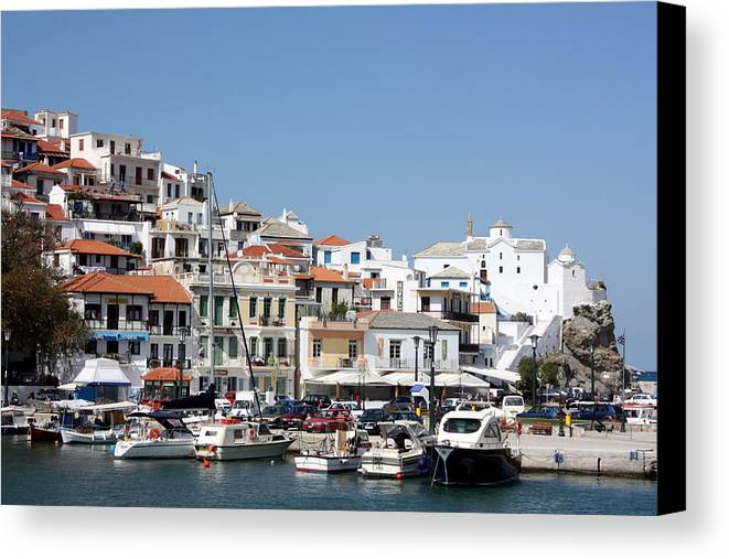 Greece Canvas Print featuring the photograph Skopelos Harbour Greece by Yvonne Ayoub