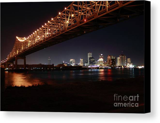 New Orleans Canvas Print featuring the photograph Skyline Bridge by James Foshee