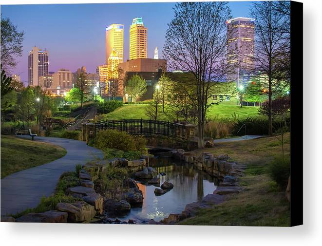 Tulsa Canvas Print featuring the photograph Skyline Of Tulsa Oklahoma At Dusk by Gregory Ballos