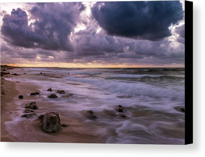 Sunrise Canvas Print featuring the photograph Smokey Waters by Fred Boehm