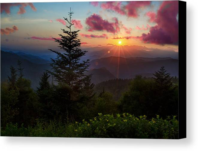 Great Smoky Mountains Canvas Print featuring the photograph Smoky Mountain Sunset by Christopher Mobley