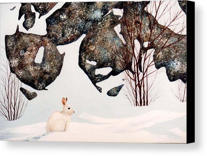 Wildlife Canvas Print featuring the painting Snow Ledges Rabbit by Frank Wilson