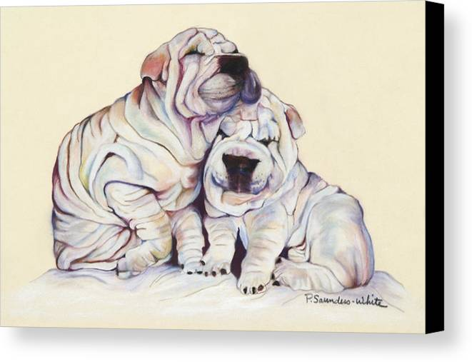Dog Painting Canvas Print featuring the pastel Snuggles by Pat Saunders-White