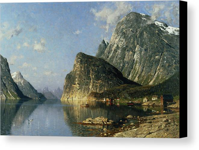 Reflection; Steamer Canvas Print featuring the painting Sogne Fjord Norway by Adelsteen Normann