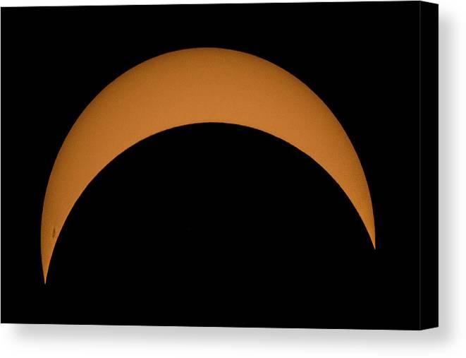 Sun Canvas Print featuring the photograph Solar Eclipse2 by Krystal Billett