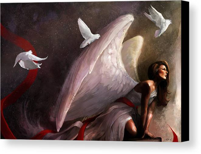 Weeping Canvas Print featuring the mixed media Sometimes They Weep by Steve Goad