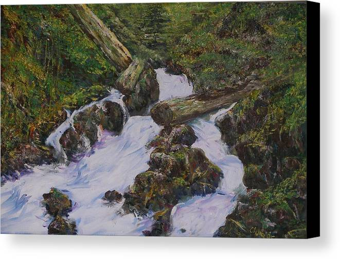 Landscape Canvas Print featuring the painting Sound Of Water by Wendy Chua