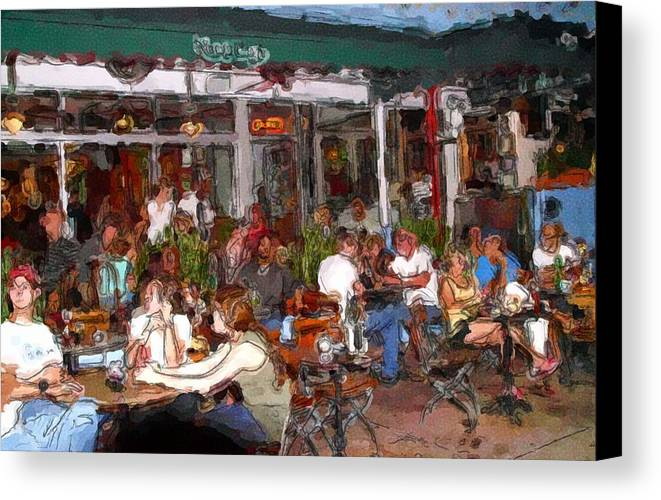 Beach Food Ocean Canvas Print featuring the photograph South Beach Cafe by Ralph Liebstein