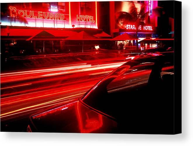 Neon Canvas Print featuring the photograph South Beach Red by Brad Rickerby