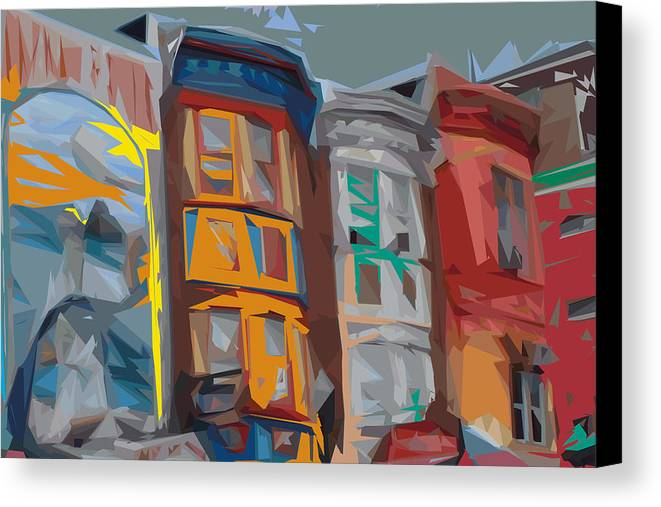 Philadelphia Canvas Print featuring the digital art South Street Revisited by Kevin Sherf