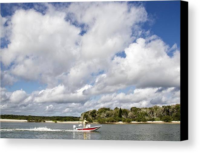 Alicegipsonphotographs Canvas Print featuring the photograph Speedy Red Boat by Alice Gipson
