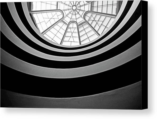 America Canvas Print featuring the photograph Spiral Staircase And Ceiling Inside The Guggenheim by Sami Sarkis