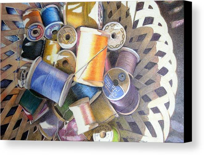 Still Life Canvas Print featuring the painting Spools by Bonnie Haversat