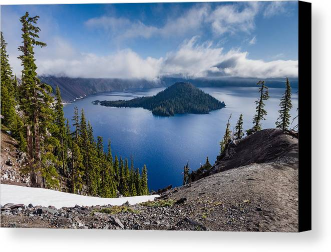 Crater Lake Canvas Print featuring the photograph Spring Morning At Discovery Point by Greg Nyquist