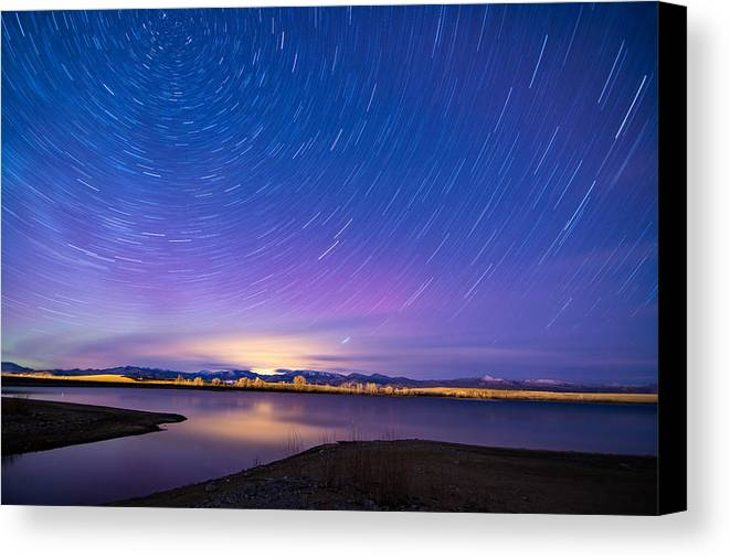 Nightscapes Canvas Print featuring the photograph Star Trails And Auroras by Tory Stephens