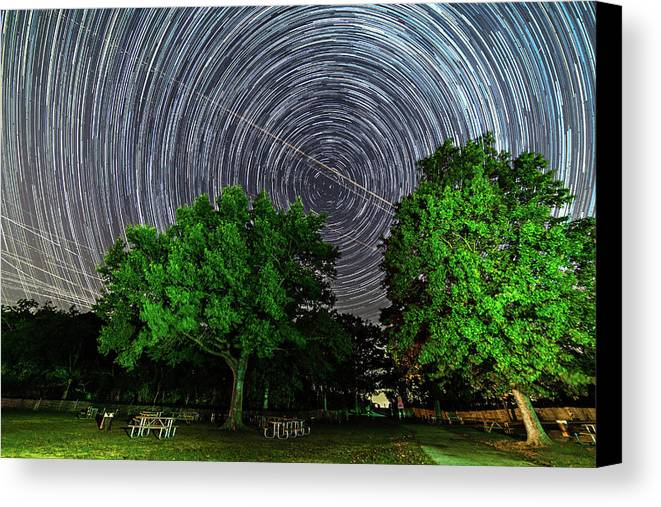 Astronomy Canvas Print featuring the photograph Star Trails At Sunken Meadow State Park by Justin Starr