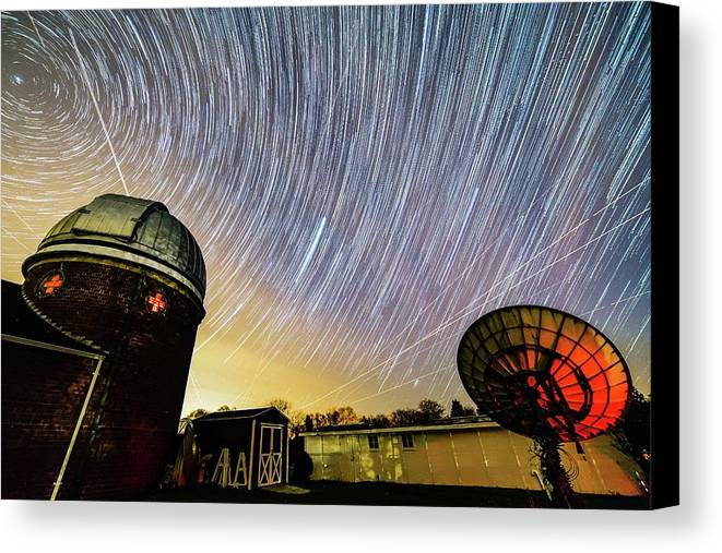 Space Canvas Print featuring the photograph Star Trails Over Custer Observatory by Justin Starr