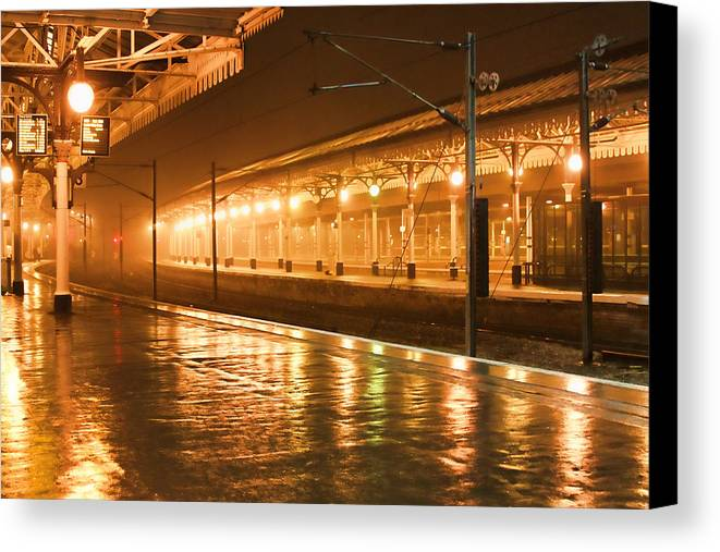 Train Station Canvas Print featuring the photograph Station At Night by Tony Grider